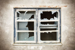 Broken Window with focus to Window Royalty Free Stock Photos