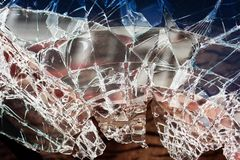 Broken window glass Royalty Free Stock Photography