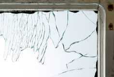 Broken window glass Stock Photos