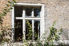 Broken Window In An Old Abandoned House Stock Photography