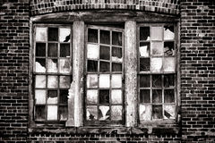 Broken Window on Old Abandoned Industrial Building Royalty Free Stock Photos