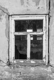 Broken window in the old house. Stock Photo