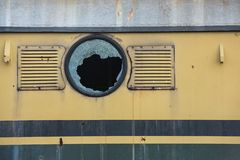 Broken window of old train stock images
