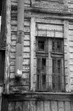 Broken window in old wooden house black and white, very sharp Royalty Free Stock Photos