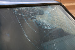 Broken window-pane. Destroyed window-pane, vandal or thief or accident Stock Images