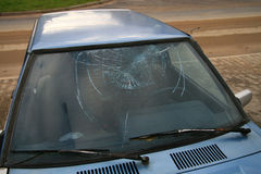 Broken window-pane. Destroyed window-pane, vandal or thief or accident Stock Photos