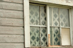 Broken Window and Panes on Old Abandoned Barn Stock Photos