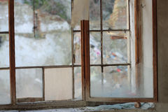Broken window -photo  from demolition  textile  factory Royalty Free Stock Images