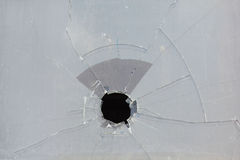 Broken window, ugly hole in glass Stock Photos