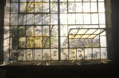 Broken windows in abandoned factory, East St. Louis, Missouri Royalty Free Stock Image