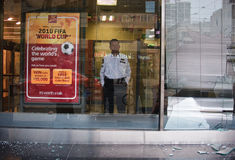Broken windows CIBC of G8/G20 roit toronto Royalty Free Stock Photo