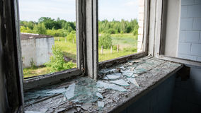Broken windows with smashed glass Stock Photography