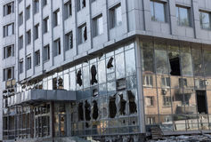 Broken windows of weapons falling into the Donetsk Stock Images