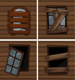 Broken windows on wooden wall. Illustration Royalty Free Stock Image