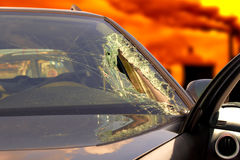 Broken windscreen at black car in traffic accident Stock Images
