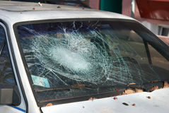 Broken windshield royalty free stock photography
