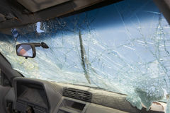 Broken Windshield Of Car Royalty Free Stock Photos