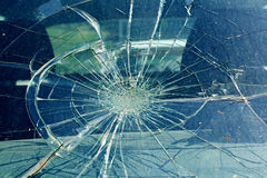 The broken windshield in the car accident Stock Images