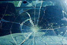 The broken windshield in the car accident royalty free stock photography