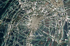 The broken windshield in the car accident Stock Image
