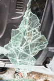 Broken windshield in car accident Royalty Free Stock Photo
