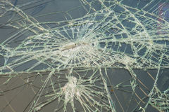 Broken windshield in car accident Royalty Free Stock Photos