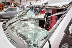 The broken windshield in car accident.  Royalty Free Stock Images
