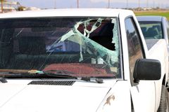 Broken Windshield in a Car Accident Royalty Free Stock Image