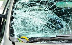 Broken windshield in car accident Royalty Free Stock Images