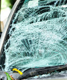 Broken windshield in car accident Stock Images
