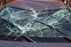 Broken Windshield. After car crash Royalty Free Stock Photography