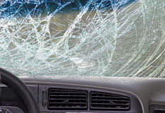 Broken windshield of a car, inside view Royalty Free Stock Images