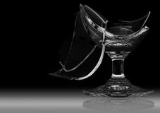 Broken wine glass is damaged. Royalty Free Stock Photography