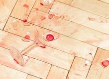 Broken wineexponeringsglas Arkivbild