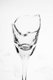 Broken wineglass. On the white background. Black and white Royalty Free Stock Photo