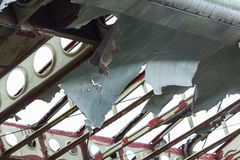 Broken wings of the old biplane. Stock Photos