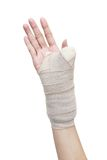 Broken woman arm in a cast Royalty Free Stock Image
