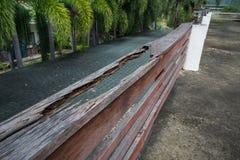Broken wood balcony on deck floor.  royalty free stock photo