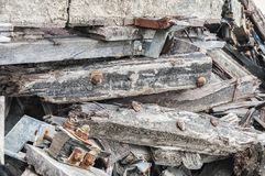 Broken wooden beams on top royalty free stock images