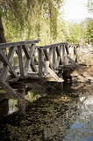 The broken wooden Bridge in Hungary Stock Images