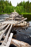 Broken wooden bridge Stock Photo