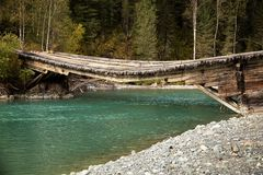 Broken wooden bridge Stock Photos