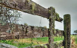A broken wooden fence. On farmerland Royalty Free Stock Photos