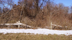 Broken wooden fence in front of trees with snow on the ground Royalty Free Stock Photography