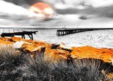 Broken wooden jetty in esperance Western australia. Historical jetty in esperance stock photo