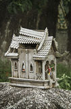 Broken wooden spirit house in thailand Royalty Free Stock Photos