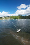 Broken yacht in a bay, island Samana Stock Photos