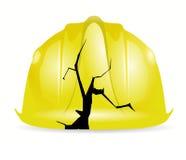 Broken yellow construction helmet illustration Stock Image