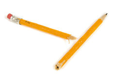 Broken Yellow Pencil With Shadow Revised Royalty Free Stock Photos