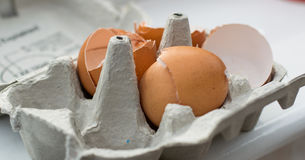 Brokene eggs in the basket Stock Photography
